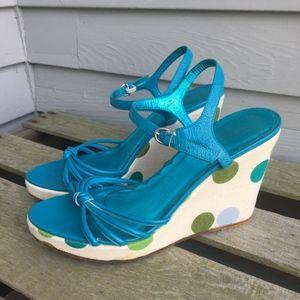 COACH Polka Dot LONA Wedge Sandals 8